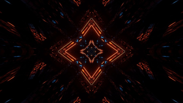 오렌지와 블루 네온 불빛과 함께 미래의 대칭과 반사 추상적 인 배경 무료 사진