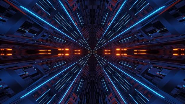 Футуристическая симметрия и отражение абстрактный фон с оранжевыми и синими неоновыми огнями Бесплатные Фотографии