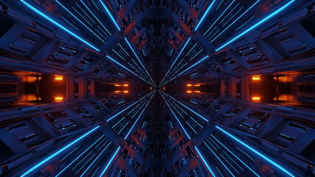 Simmetria futuristica e riflessione sfondo astratto con luci al neon arancioni e blu Foto Gratuite