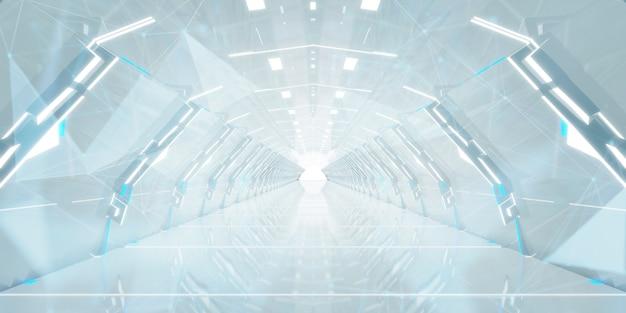 Futuristic tunnel corridor design. Premium Photo