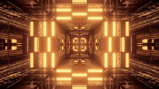 Futuristic tunnel corridor neon lights Free Photo