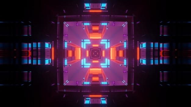 Corridoio tunnel futuristico con luci al neon incandescente, sfondo rendering 3d Foto Gratuite