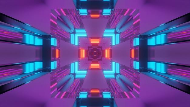 ネオンの光るライト、3dレンダリングの背景を持つ未来的なトンネル回廊 無料写真