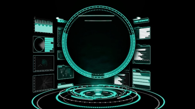 Futuristic user interface dashboard for big data analytic in information chart Premium Photo