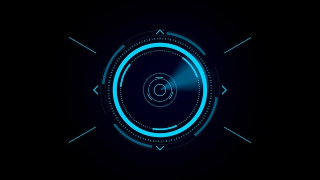 Futuristic user interface hud, digital crosshair, scan for a target Premium Photo