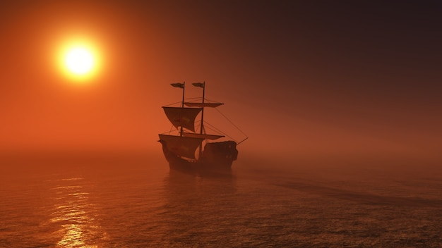 Galleon sailing by the sea Free Photo