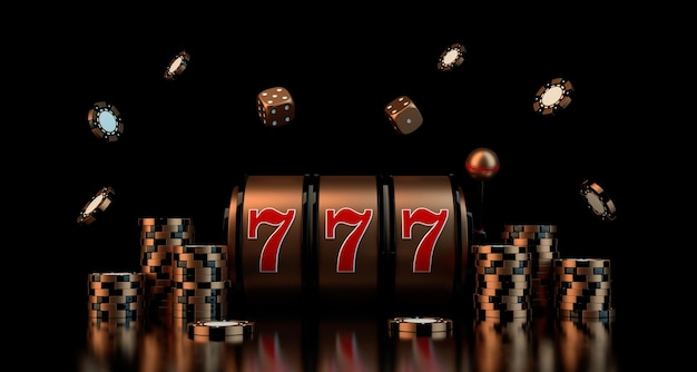 Gambling concept with dice casino chips slot d rendering Premium Photo
