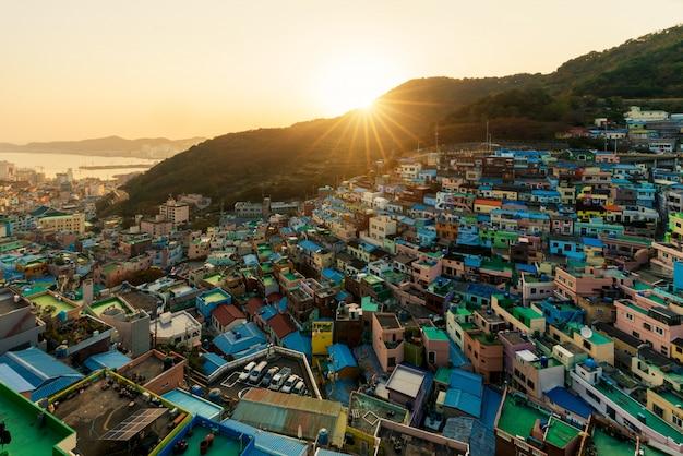 Gamcheon culture village at night in busan, south korea. Premium Photo