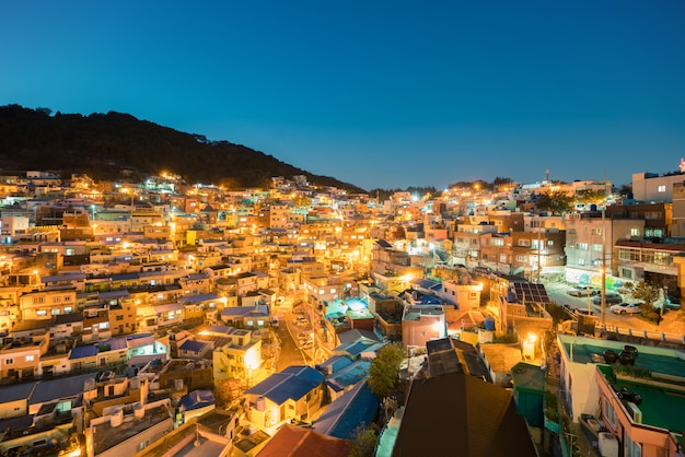 Gamcheon Culture Village At Night In Busan South Korea Premium