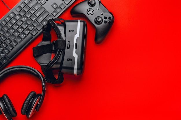 Gamer workplace with items Premium Photo
