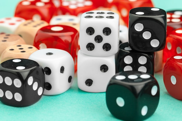 Gaming dices on blue background. game concept. Premium Photo