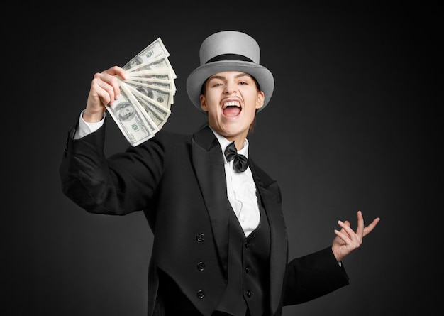 Gangster girl keeps money in hands Premium Photo