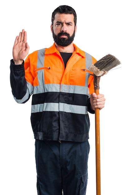 Garbage man doing oath Free Photo