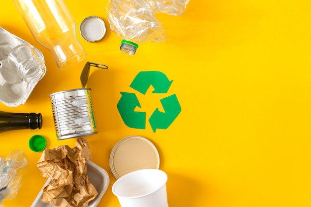 Garbage prepared for recycling Premium Photo
