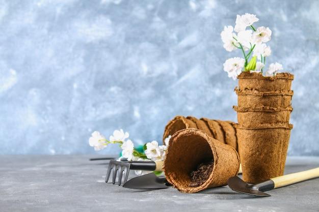 Garden tools, pots on a gray concrete background. copy the space. Premium Photo