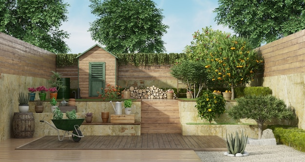 Garden on two levels with wooden shed and fruit tree Premium Photo