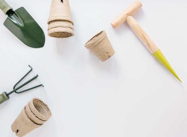 Gardening equipments over isolated on white background Free Photo