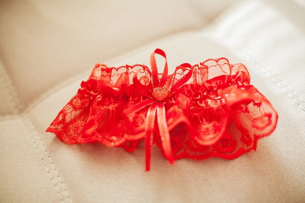 Garter of the bride , bride's accessories Premium Photo