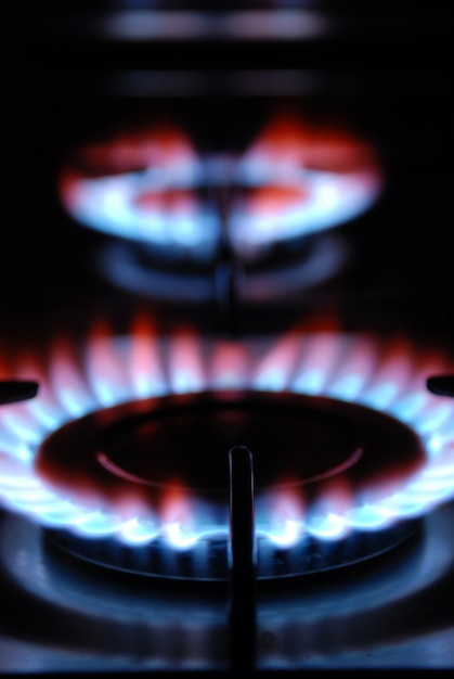 Gas flame of a gas range Premium Photo
