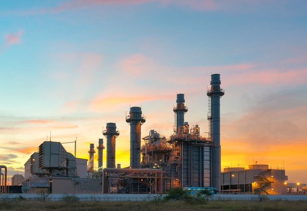 Gas turbine electrical power plant at dusk Premium Photo