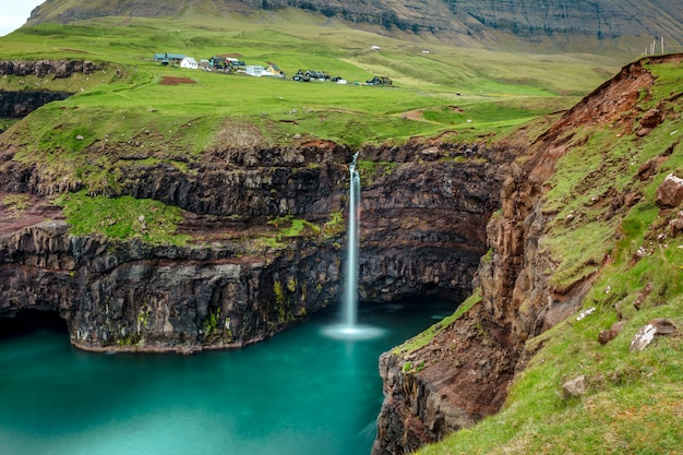 Gasadalur waterfall in faroe Premium Photo
