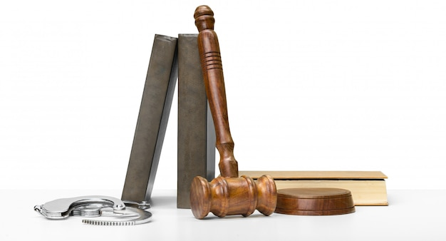 Gavel, books and handcuffs Premium Photo