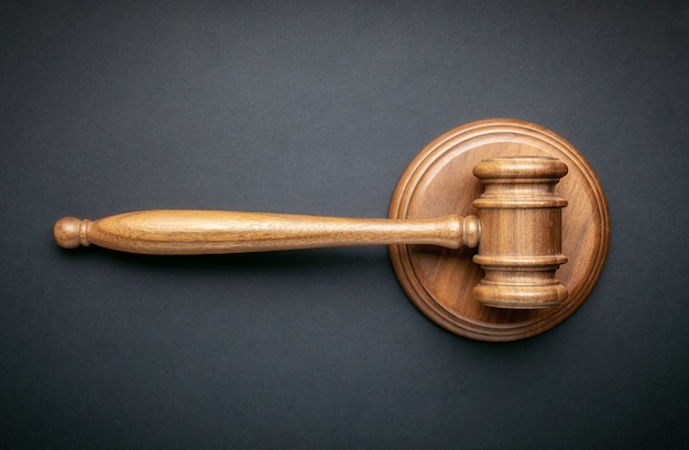 Gavel judge on black background. law and order concept Premium Photo