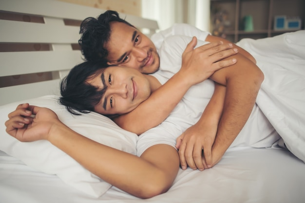 Gay A Letto.Gay Couple Love Time On The Bed Photo Free Download