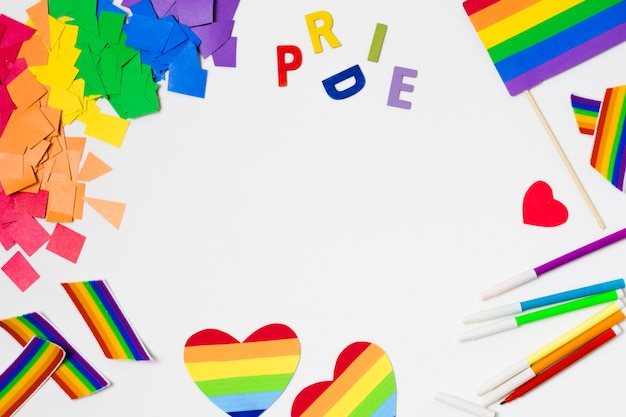 Gay pride accessories in flat design Free Photo