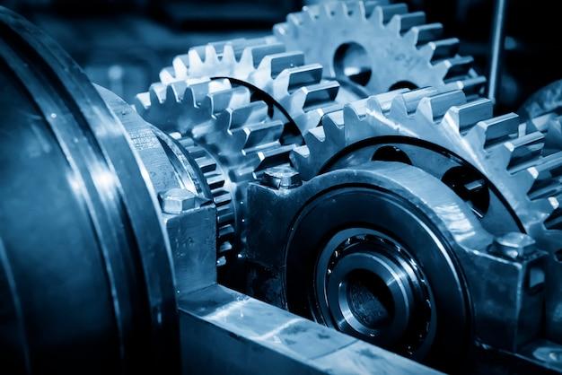 Gear metal wheels close-up Premium Photo