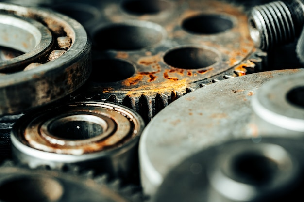 Gears from an old industrial machine Premium Photo