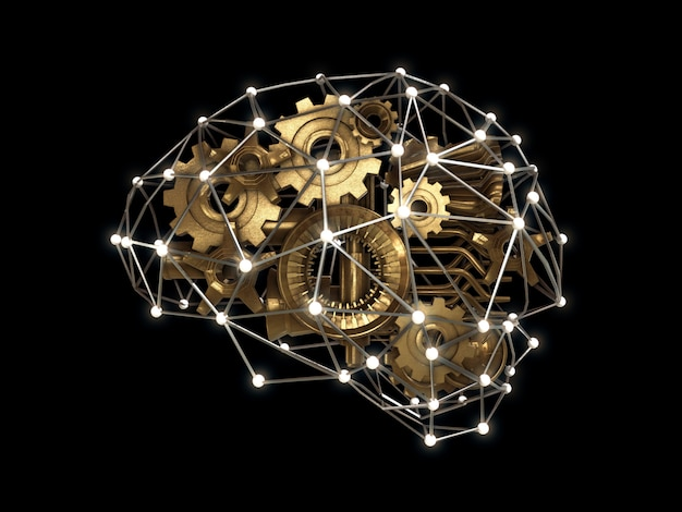 Gears and machine part in shape of brain, intelligence work concept,abstract brain.3d rendering Premium Photo