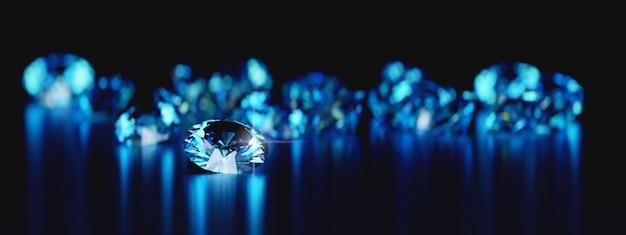 Группа синих круглых бриллиантов gem помещены на отражение Premium Фотографии