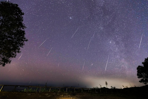 Geminid meteor shower and the milky way over a mountain. geminid meteor in the night sky Premium Photo
