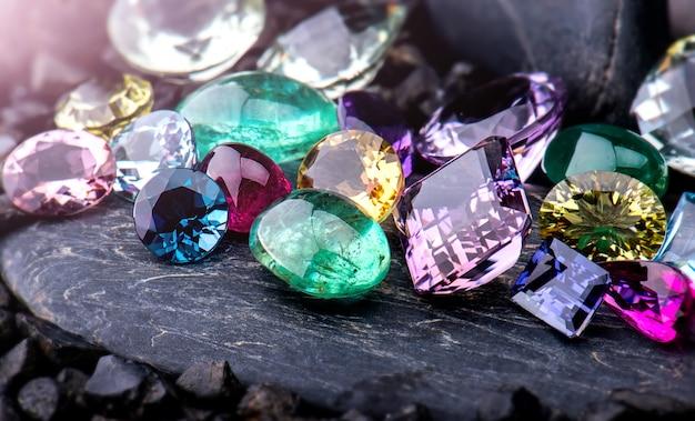 Gemstones collection jewelry set. Premium Photo