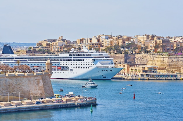 General view of valletta grand harbor in malta with large