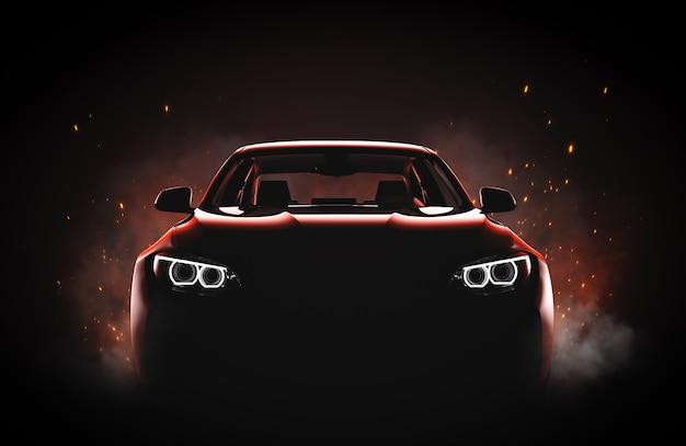 火と煙のあるジェネリックでブランドレスのモダンなスポーツカー Premium写真