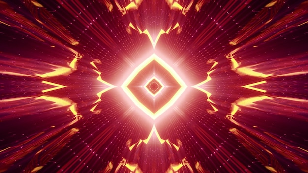 Geometric abstract tunnel with rhombus shaped ornament and crystal walls glowing with red neon light Premium Photo