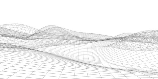 幾何学的なグリッド構造織りメッシュ波ダイナミックライン水平背景サイバー背景コンセプト Premium写真