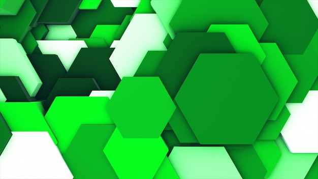 Geometric hexagons as a wave white and green. Premium Photo