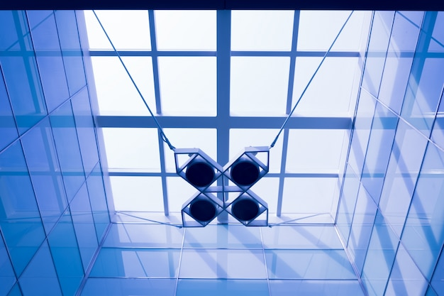 Geometric lamp hanging from the ceiling Free Photo