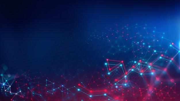 Geometric landscape and futuristic digital blockchain fintech technology. Premium Photo