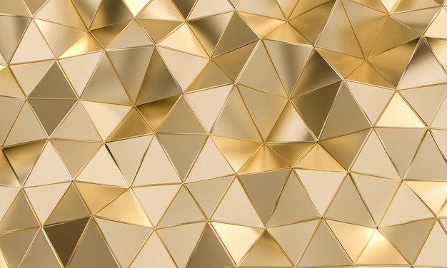Geometric pattern with triangular shapes in gold-colored metal. Premium Photo