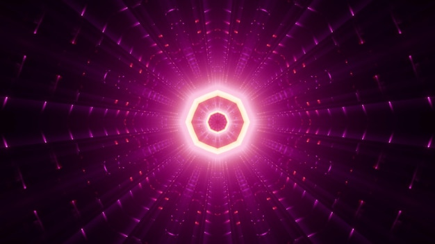 Geometric pink octagon shaped ornament glowing with bright neon beams Premium Photo