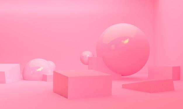 Geometric shape scene minimal style,  3d rendering. Premium Photo