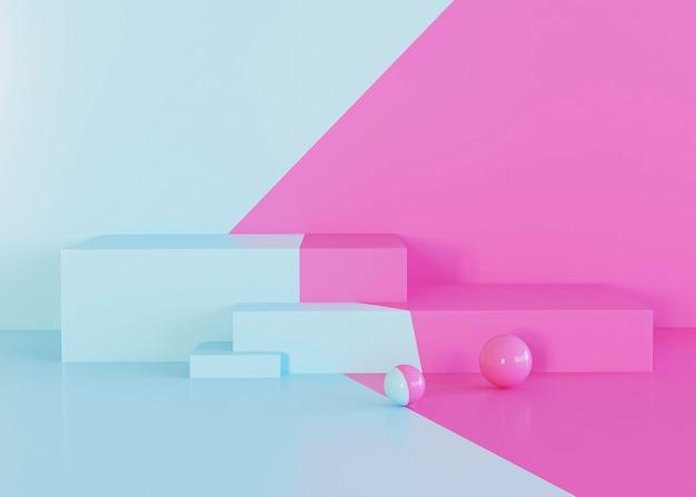 기하학적 인 도형 배경 핑크와 라이트 블루 톤 무료 사진