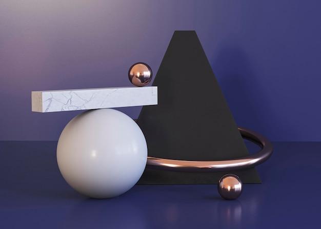 Geometric shapes background and pyramid Free Photo