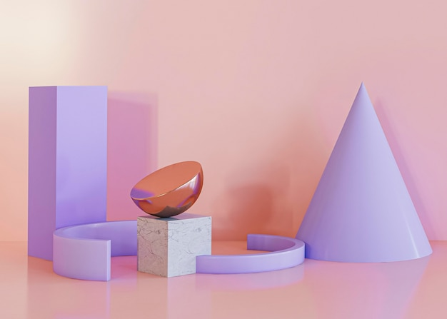 Geometric shapes background violet forms Free Photo