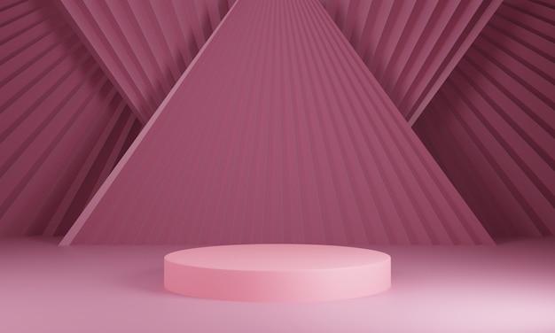 製品デザインショーのための空のスペースで幾何学的図形構成。濃いピンクの背景に3 dレンダリング抽象的なシリンダー表彰台 Premium写真