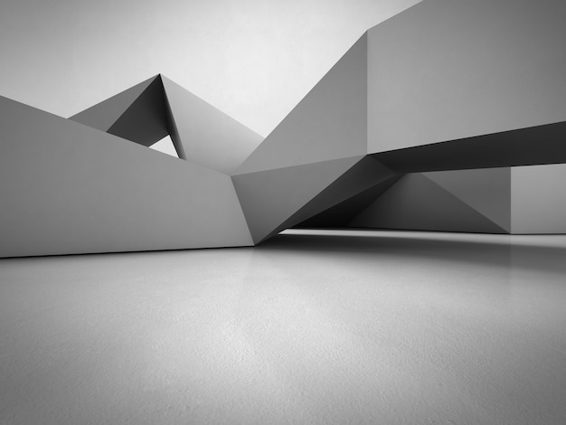 Geometric shapes structure on concrete floor with empty gray wall background in hall. Premium Photo